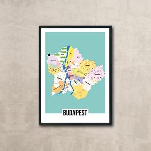 Budapest térkép, Férfiaknak, Otthon & lakás, Képzőművészet, Illusztráció, Fotó, grafika, rajz, illusztráció, Egyedi, saját tervezésű nyomat. \nBudapest térkép vidáman.\nAz ár 1 db képre vonatkozik, a keretet NEM..., Meska