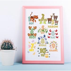 Számoljunk! Egytől-tízig!, Betű & Név, Dekoráció, Otthon & Lakás, Fotó, grafika, rajz, illusztráció, A3-as (297mm x 420mm) méretben kreatív kartonra nyomtatva. \n\nKERET NÉLKÜL\n\nSzínes, vidám gyerek szob..., Meska
