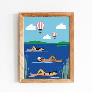 Lebegés a vízen, Otthon & lakás, Dekoráció, Kép, Fotó, grafika, rajz, illusztráció, Retro hangulatú nyári poszter\nKeret nélkül, A4-es mérettől, Meska