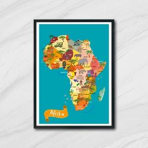 Afrika térkép, Játék & Gyerek, Készségfejlesztő & Logikai játék, Fotó, grafika, rajz, illusztráció, A3-as (297mm x 420mm)méretben nyomtatva.(kérésre nagyobb méretben is)\nSzínes, vidám gyerek szobába v..., Meska