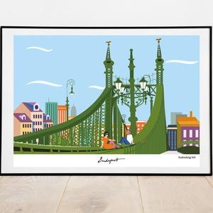 Szabadság Híd, Művészet, Grafika & Illusztráció, Fotó, grafika, rajz, illusztráció, A Szabadság híd a budapesti képeim sorozatának új tagja :)\n\nGyerekszoba fali dekoráció, \nfalikép A4-..., Meska