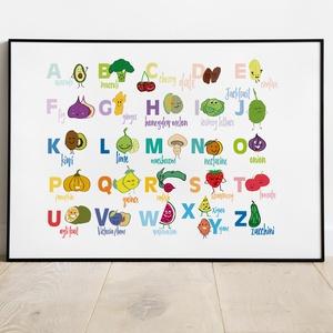 Angol Gyümölcs és Zöldség ABC, Otthon & Lakás, Dekoráció, Falra akasztható dekor, Fotó, grafika, rajz, illusztráció, ANGOL ABC betűit használva, többségében gyümölcsök és zöldségek jelennek meg a betűk mellett. Színes..., Meska