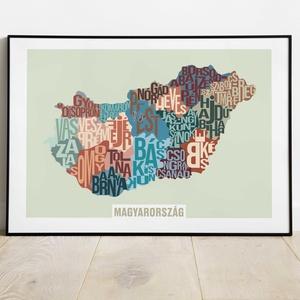 Játék a betűkkel, Magyarország betűtérkép, Otthon & Lakás, Dekoráció, Fotó, grafika, rajz, illusztráció, Játék a betűkkel, Magyarország térkép\n\nMéretek:\nA4-estől A2-ig. (Az A4-es képek szélén körben 5 mm f..., Meska