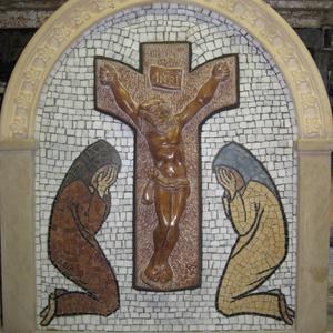 Házi oltár mozaik kép, Más művészeti ág, Művészet, Kőfaragás, Mozaik, Saját rajz alapján készített egyedi mozaik kép márvány és féldrágakő felhasználasával. A kép közepén..., Meska