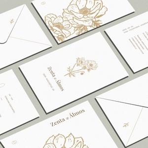 Anemone esküvői meghívó, linómetszett grafikával - Meska.hu
