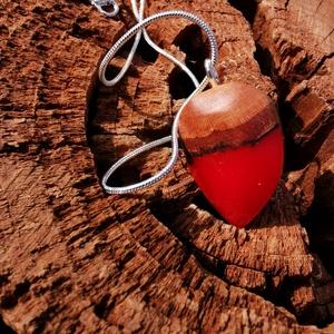 Piros csepp, Ékszer, Medálos nyaklánc, Nyaklánc, Ékszerkészítés, Meska
