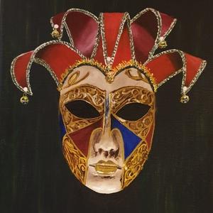 Velencei maszk , Művészet, Festmény, Olajfestmény, Festészet, Amikor Velencében élőben láttam ezeket a maszkokat, ámulatba ejtett sokszínűségük, az a rengeteg kéz..., Meska