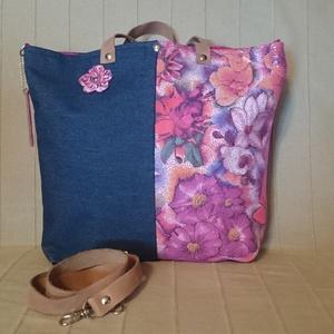 c6446254af3e ... oldaltáska Bőr- farmer táska rózsaszín virágos /kézitáska  /válltáska/oldal táska , Táska,