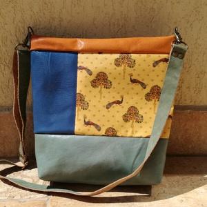 Bőrtáska sárga zöld mintás /válltáska /oldal táska , Táska & Tok, Kézitáska & válltáska, Vállon átvethető táska, Varrás, Egyedi bőr táska egy román mintás műbőr résszel díszítve. A táska többi része különböző hozzá passzo..., Meska