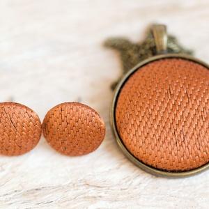Rezes szett - nyaklánc és fülbevaló, Ékszerszett, Ékszer, Ékszerkészítés, Mindenmás, Meleg tónusú barnás narancsos textil ékszerszett. Szép fényes rozsdás réz színe a hétköznapokra és k..., Meska