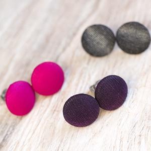 Selyemút fülbevalócsomag, Pötty fülbevaló, Fülbevaló, Ékszer, Ékszerkészítés, Mindenmás, 3 pár fényes fülbevaló: pink, antik szürke és sötét lila. Rendelhetőek külön vagy hármas csomagban.\n..., Meska
