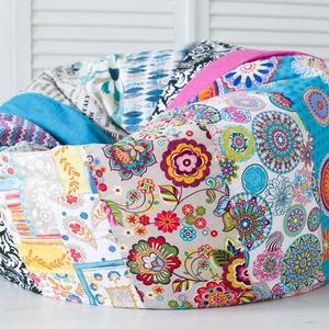Design patchwork babzsákfotel felnőtteknek és tiniknek, patchwork babzsák, Otthon & Lakás, Babzsákfotel, Bútor, Varrás, Meska