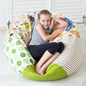 """Vidám színű, \""""süppedős\"""" patchwork babzsákfotel gyerekeknek - zöld, klasszikus formájú babzsák gyerekeknek, Babzsákfotel, Bútor, Otthon & Lakás, Varrás, Egyedi tervezésű, vidám színű patchwork babzsákfotel gyerekeknek. Klasszikus forma, egyedi kivitel! ..., Meska"""