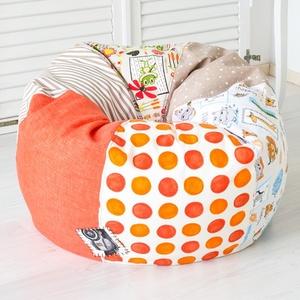 """Vidám színű, \""""süppedős\"""" patchwork babzsákfotel gyerekeknek - narancs, klasszikus formájú babzsák gyerekeknek, Bútor, Otthon & lakás, Babzsák, Gyerek & játék, Gyerekszoba, Varrás, Egyedi tervezésű, vidám színű patchwork babzsákfotel gyerekeknek. Klasszikus forma, egyedi kivitel! ..., Meska"""