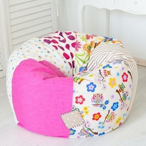 Vidám színű, süppedős patchwork babzsákfotel - KAMASZ MÉRET - rózsaszín, klasszikus formájú babzsák tiniknek, Otthon & Lakás, Babzsákfotel, Bútor, Varrás, Meska
