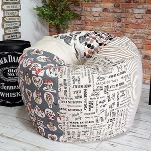 Kamasz méretű babzsákfotel, patchwork stílusban, uniszex színkombinációban, tini babzsák, Otthon & lakás, Bútor, Babzsák, Lakberendezés, Varrás, Kamasz és kis felnőtt méretű, patchwork stílusú, unisex színkombinációban készült babzsák fotel tini..., Meska