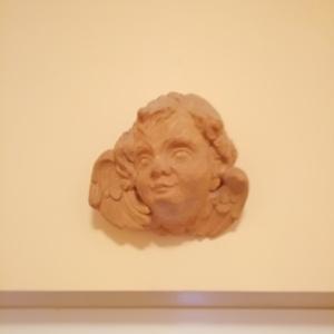 Szoborfej, Fa, Szobor, Művészet, Famegmunkálás, Szobrászat, Hársfába faragtam egy szobor hiányzó fejének pótlására. Ez egy angyalka fej. A termék mérete : 20 x ..., Meska