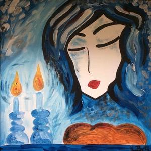 Női portré, Dekoráció, Otthon & lakás, Képzőművészet, Festmény, Akril, Festészet, akril festmény vásznon, 39x39 cm, Meska