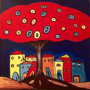 Színes város, Akril, Festmény, Művészet, Festészet, akril festmény vásznon, 40x40 cm, Meska
