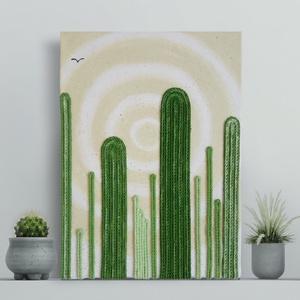 Sivatagi kaktuszok, Otthon & Lakás, Dekoráció, Kép & Falikép, Festett tárgyak, Festészet, Sivatag, homok, rekkenő hőség és kaktuszok. \nIlyen életérzés ihlette feszített vászonkép zsinór és a..., Meska