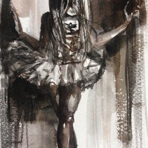 Kis balerina.Eredeti Bíró Konrád akvarell!, Képzőművészet, Festmény, Akvarell, Napi festmény, kép, Festészet, Eredeti akvarell és nem nyomat. 11x15 cm akvarell ,papíron Igaz ,festményeim nagy részét nem itthon..., Meska