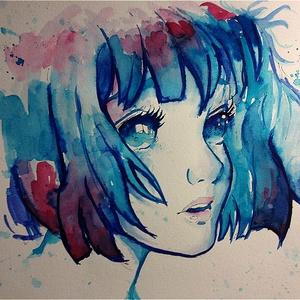 Kék álom akvarell festmény (Eredeti) (konradoart67) - Meska.hu