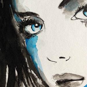 Kék tekintet akvarell festmény (Eredeti) (konradoart67) - Meska.hu