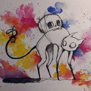Macskaszellem (Eredeti alkotás), Otthon & lakás, Képzőművészet, Illusztráció, Festmény, Akvarell, Grafika, Rajz, Festészet, Fotó, grafika, rajz, illusztráció, Eredeti Bíró Richárd akvarell és grafit illusztráció. \n\nJó minőségű vastag akvarellpapírra készült a..., Meska