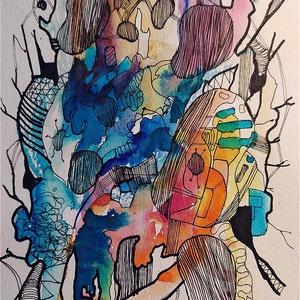 Absztrakt amőbák (Eredeti alkotás), Otthon & lakás, Képzőművészet, Illusztráció, Festmény, Akvarell, Fotó, grafika, rajz, illusztráció, Festészet, Eredeti Bíró Richárd akvarell festmény és tus.\n\nJó minőségű vastag akvarellpapírra készült alkotás, ..., Meska