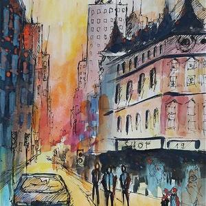 Az utca zaja (Eredeti alkotás), Otthon & lakás, Képzőművészet, Grafika, Rajz, Illusztráció, Festmény, Akvarell, Fotó, grafika, rajz, illusztráció, Festészet, Eredeti Bíró Richárd akvarell és tusrajz.\n\nJó minőségű vastag akvarellpapírra készült alkotás, amely..., Meska