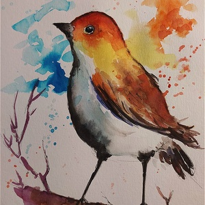 Narancsba bújva (Eredeti alkotás), Otthon & lakás, Képzőművészet, Grafika, Rajz, Illusztráció, Festmény, Akvarell, Fotó, grafika, rajz, illusztráció, Festészet, Eredeti Bíró Richárd akvarell és tusrajz.\n\nJó minőségű vastag akvarellpapírra készült alkotás, amely..., Meska