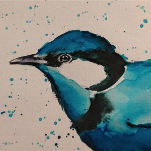 Kék madár (Eredeti alkotás), Otthon & lakás, Képzőművészet, Grafika, Rajz, Illusztráció, Festmény, Akvarell, Fotó, grafika, rajz, illusztráció, Festészet, Eredeti Bíró Richárd akvarell festmény.\n\nJó minőségű vastag akvarellpapírra készült alkotás, amely n..., Meska