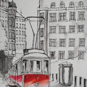 Piros villamos (Eredeti festmény), Otthon & lakás, Képzőművészet, Grafika, Rajz, Illusztráció, Festmény, Akvarell, Fotó, grafika, rajz, illusztráció, Festészet, Eredeti Bíró Richárd akvarell festmény tussal kiegészítve.\n\nJó minőségű vastag akvarellpapírra készü..., Meska