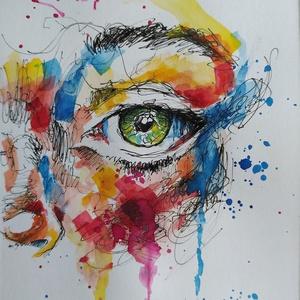 Elmosódás (Eredeti alkotás), Művészet, Festmény, Akvarell, Fotó, grafika, rajz, illusztráció, Festészet, Eredeti Bíró Richárd akvarell festmény.\n\nRengeteg szín és absztrakt formák találkozása egy arcon.\n\nA..., Meska