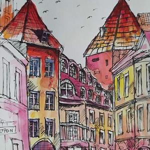 Belvárosi utca (Eredeti alkotás), Művészet, Festmény, Akvarell, Fotó, grafika, rajz, illusztráció, Festészet, Eredeti Bíró Richárd akvarell festmény.\n\nKilátás egy városra az én szemszögemből\n\nmérete: 15x21 cm..., Meska