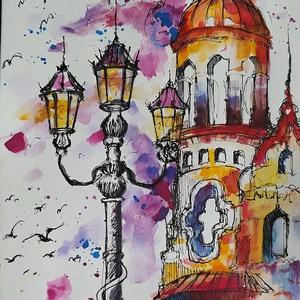 Színes városkép (Eredeti alkotás), Művészet, Festmény, Akvarell, Fotó, grafika, rajz, illusztráció, Festészet, Eredeti Bíró Richárd akvarell festmény.\n\nKülönleges szemszögből rajzolt hangulatos városkép, amely a..., Meska