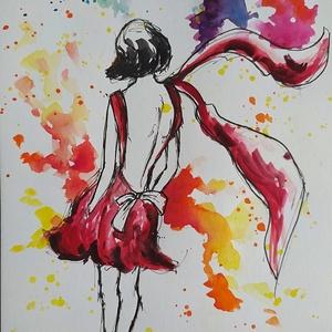 Várakozás (Eredeti alkotás), Művészet, Festmény, Akvarell, Fotó, grafika, rajz, illusztráció, Festészet, Eredeti Bíró Richárd akvarell festmény.\n\nA piros ruhás hölgy aki vár valakire...\n\nmérete: 15x21 cm..., Meska