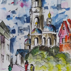 Vihar előtt (Eredeti alkotás), Művészet, Festmény, Akvarell, Fotó, grafika, rajz, illusztráció, Festészet, Eredeti Bíró Richárd akvarell festmény.\n\nEgy egyszerű rajz amelyhez hozzáadtam némi élettel teli for..., Meska