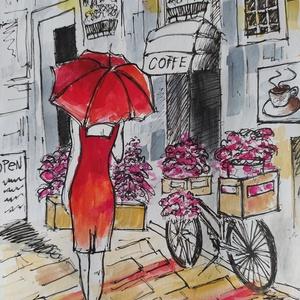 Séta Párizsban(Eredeti alkotás), Művészet, Festmény, Akvarell, Fotó, grafika, rajz, illusztráció, Festészet, Meska