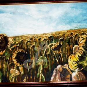 Őszi hangulat-olaj festmény +kerettel, Olajfestmény, Festmény, Művészet, Varrás, Festészet, Saját készítésű olajfestményem, másolat nem készült belőle, egyedi darab.\nA napraforgókat most egy k..., Meska