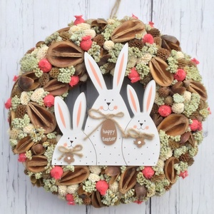 Happy Easter kopogtató-Nyuszi család ajtódísz tavaszra , Dekoráció, Otthon, lakberendezés, Koszorú, Ajtódísz, kopogtató, Virágkötés, Nyuszi család keresi új otthonát :) A kopogtatót üde tavaszi színekből  álmodtam meg. A változatos ..., Meska