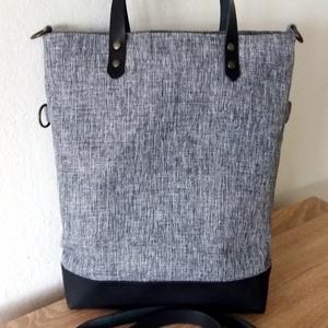Szürke fekete női táska valódi bőr pántokkal.  8bd5429ee5