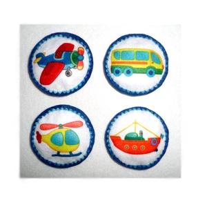 Járművek ~ hűtőmágnesek, Játék & Gyerek, 3 éves kor alattiaknak, Varrás, Hímzés, Egészében kézzel varrtam aprólékos munkával ezeket a hűtőmágneseket. Filc anyag felhasználásával kés..., Meska