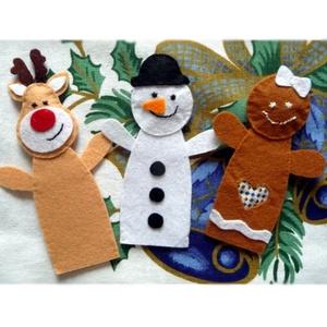Karácsonyi ujjbáb készlet  ~ 3 db (mézi, réni, hóember), Játék & Gyerek, Bábok, Ujjbáb, Varrás, Hímzés, Teljes egészében kézzel varrtam aprólékos munkával ezeket az édes bábokat. Filc anyag felhasználásáv..., Meska