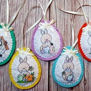 Tündéri húsvéti  tojások  (5 db), Otthon & Lakás, Dekoráció, Varrás, Hímzés, Egészében kézzel varrtam aprólékos munkával ezeket a tojásokat. Gyapjúfilcből készültek  és tömőanya..., Meska