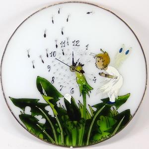 Pitypangos tündér falióra - üvegre festett óra, Otthon & Lakás, Dekoráció, Falióra & óra, Üvegművészet, Festett tárgyak, Meska