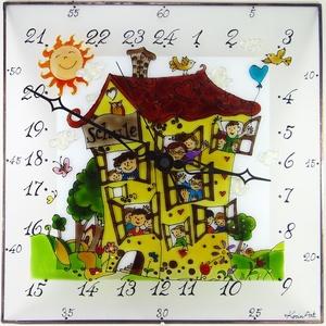 Iskolás falióra - 24 órás óra - üvegre festett óra, Otthon & Lakás, Dekoráció, Falióra & óra, Üvegművészet, Festett tárgyak, Meska