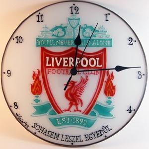 Liverpool falióra - üvegre festett óra, Otthon & Lakás, Dekoráció, Falióra & óra, Üvegművészet, Festett tárgyak, Meska