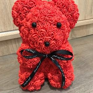 Piros virág maci, Otthon & lakás, Dekoráció, Dísz, Lakberendezés, Asztaldísz, Mindenmás, Sziasztok! \nHa szeretnétek kézzel készült virág macikat ajándékozni ismerősötöknek, ami tökéletes aj..., Meska
