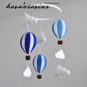 Hőlégballonos kiságyforgó/Babaforgó - Fehér/Halványkék/Sötétkék, Gyerek & játék, Gyerekszoba, Mobildísz, függődísz, Varrás, Hőlégballon kiságyforgó \nEgyedi, kézzel készített kiságyforgó\n\nAz első dolog, amit a gyermeked felke..., Meska